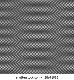 Realistic metal grid texture background. Structure of metal mesh fence with highlights and shadows. Vector backdrop.