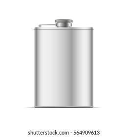 Realistic metal hip flask . Vector illustration