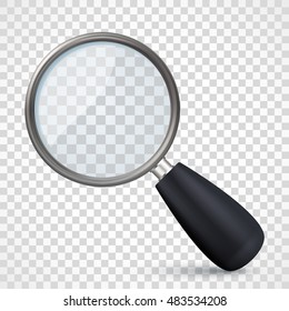 Realistic metal magnifying glass icon on transparent checkered background. Vector illustration