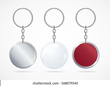 Realistic Metal and Plastic Keychains Set Round Designs Web Element. Vector illustration