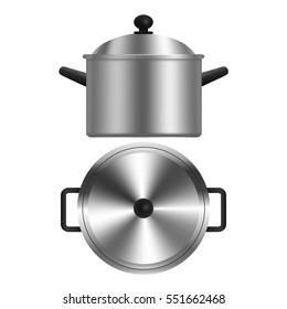 Realistic Metal Pot or Casserole Top View and Side Kitchen Utensils for Home and Restaurant. Vector illustration