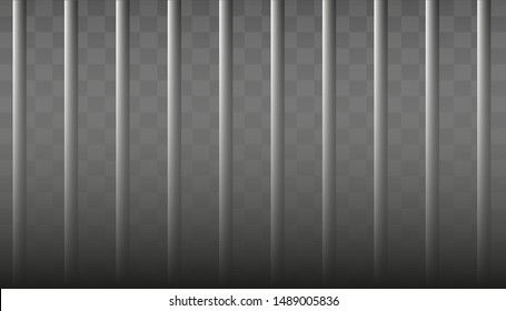 Realistic metal prison grilles. Isolated on a transparent background. Thuster machine, iron prison cell.metallic product.Vector ilustration .