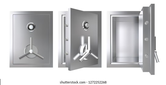 Realistic metal safe with opened and closed door. Armored box vector illustration.