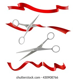 Realistic metal scissors for grand opening inauguration event with red ribbon cutting public ceremony image vector illustration