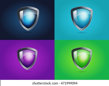 Realistic metal shield with transparent armored glass. Vector illustration of a protection or security. Colored backgrounds.