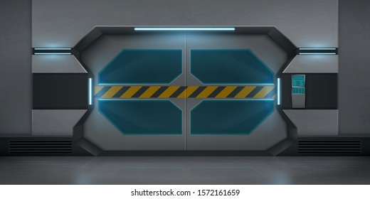 Realistic metal sliding doors with warning striped tape. Vector futuristic interior of empty hallway in spaceship or lab. Closed gate with security code lock keypad and display on the wall