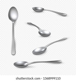 Realistic metal spoon. 3D silver teaspoon isolated on white, stainless steel shiny tablespoon. Vector isometric set table utensils of realistic spoon
