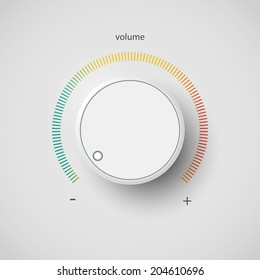 Realistic metal volume control panel tumbler. Music audio sound knob button minimum maximum level. Rotate switch interface stereo tuner isolated on white background. Design element Vector illustration