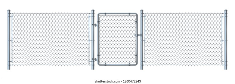 Realistic metal wire fence and gate   detailed illustration