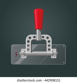 Realistic metall switch. Isolated red tumbler