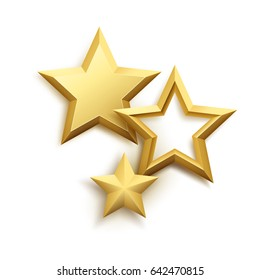 Realistic metallic golden star background. Vector illustration EPS10