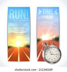 Realistic metallic stopwatch time to run sport vertical banners set isolated vector illustration.