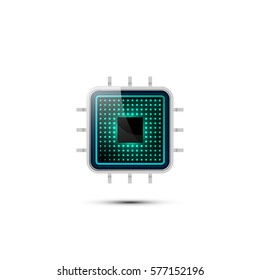 Realistic microchip. Vector Illustration.