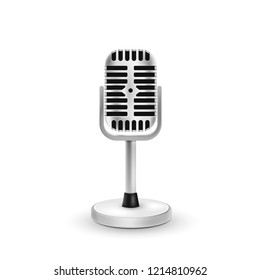 Realistic microphone isolated on white background. Vector illustration. Eps 10.