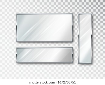Realistic Mirror isolated set. Mirror frame, white mirrors template. Realistic 3D design for interior furniture. Reflecting glass surfaces isolated