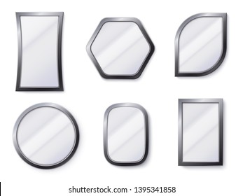 Realistic mirrors. Reflective mirror surface in frame, mirroring glass and round mirror 3D isolated vector illustration