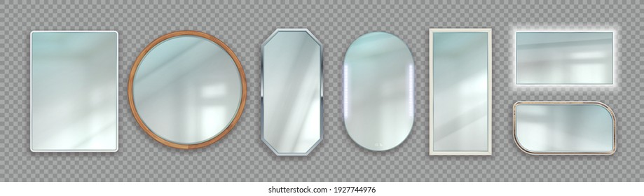 Realistic mirrors. Round and square reflective glass surface with wooden and metallic frames. 3D isolated backlighted frameworks on transparent background. Vector interior furniture design template