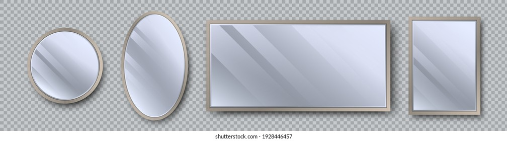 Realistic mirrors set with reflection on glass. Geometrical mirror with frame in different shapes - circle, oval, rectangle, square. Reflecting glass surfaces. 3d template design for decor interior