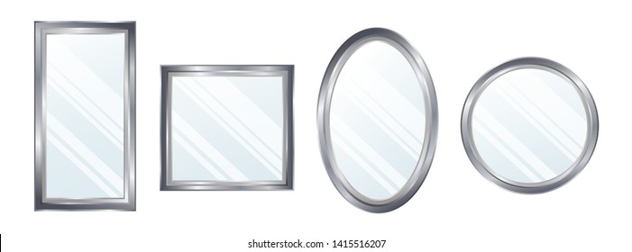 Realistic mirrors set. Reflective mirror surface in silver frame, mirroring glass decor interior vector illustration