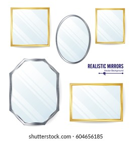 Realistic Mirrors Set Vector. Mirror Frames Or Mirror Decor Interior Illustration