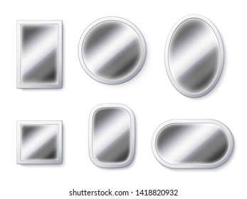 Realistic mirrors surfaces. Mirror frame, reflective surface and mirroring glass 3D isolated vector illustration