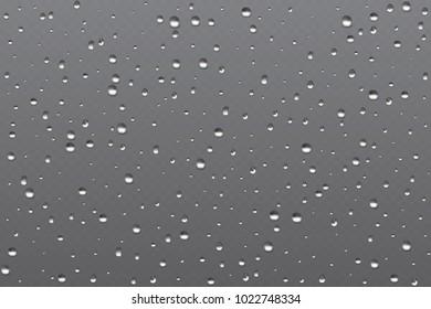 Realistic misted glass, rain bubble water vapor in window. Vector illustration.