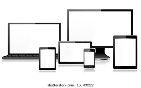 Realistic mobile and computer devices with laptop, monitor screen,  tablet in ipade style, mini tablet and smartphone - each device grouped on a separate layer, reflections, EPS10