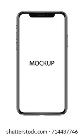Realistic mobile iphone XS. Smartphone 3d illustration isolated on white background. Graphic concept for your design. Vector mockup