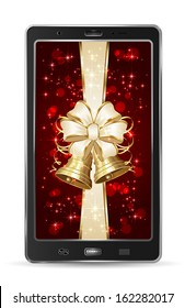 Realistic mobile phone with beige bow and Christmas bells, illustration.