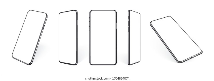 Realistic mobile phone mockup, set of smartphone devices in different angles and perpective view. Isolated black cell template with blank screen and shadows. Vector 3d illustration.
