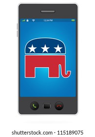 Realistic Mobile Phone on White Background with Republican Party Logo