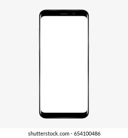 Realistic mobile phone smartphone with blank screen isolated on white background. Vector illustration for printing and web element. Game and application mockup.