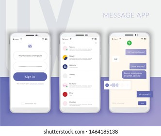 Realistic mobile phone user interface messenger chat app template composition with mockup images of three screens vector illustration