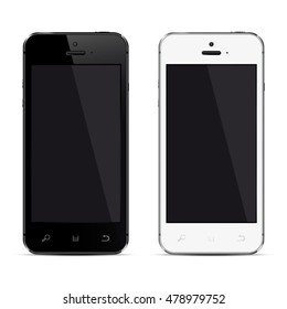 Realistic mobile phones with blank screen isolated on white background