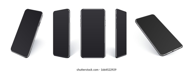 Realistic mobile phones mockup in different angles isolated, Perspective view cellular gadget with black empty screen isolated on white background for showing ui ux app design or website.