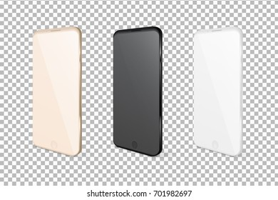 Realistic mobile phones. Smartphone illustration isolated on white background. Graphic concept for your design.