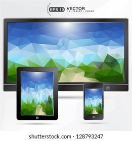 realistic MOBILE,TABLET,PHONE with geometric  landscape presentation