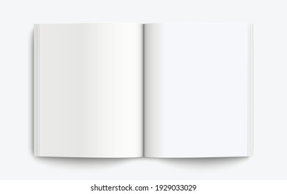 Realistic mockup book: Blank open book with shadows isolated on light background. Vector illustration EPS10