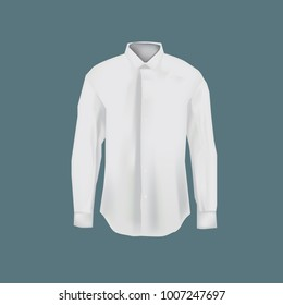 Realistic mockup of men white shirt. Men's business shirt with long sleeves. White variant of template. Clothes in light colors. Template fashion clothes mockup tshirt. Front view. Vector