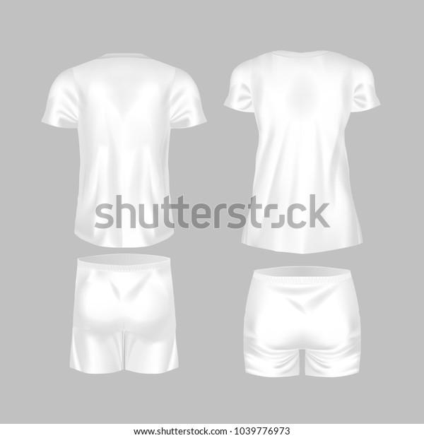 Realistic Mockup Men Women Tshirt Fashion Stock Vector (Royalty Free