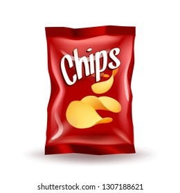 Realistic mockup package of red chips package with label isolated on white background, foil bags with potato snack, vector illustration