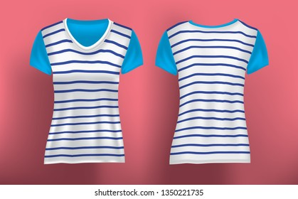 Realistic mockup striped women's T shirt front and back in vector illustration