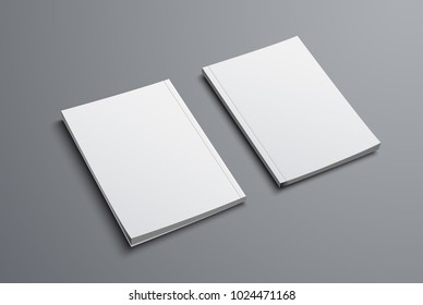 realistic mockup of two brochures with front and back covers. Blank of the universal catalog A4 or A5 for presentation of design. Vector illustration. Set