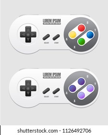 Realistic Mockup Video game Vintage Controller Vector 2 styles  isolated in gray background