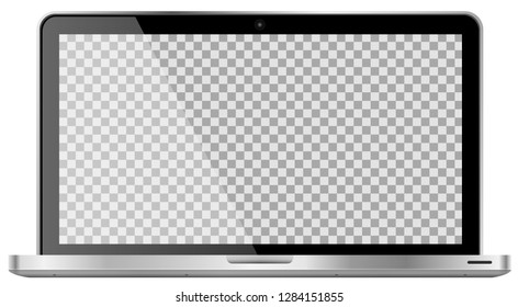 Realistic modern 4k laptop isolated on white background. Empty transparent screen template. Blank copy space on modern mobile computer. Vector illustration