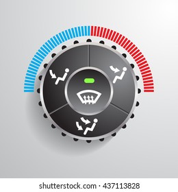 realistic modern car automobile air condition button vector illustrations