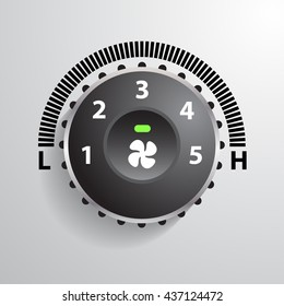 realistic modern car automobile air condition fan speed button vector illustrations