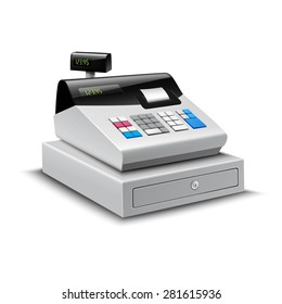 Realistic modern cash register with digital display isolated on white background vector illustration