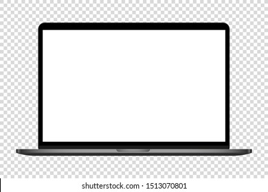 realistic modern computer laptop blank screen vector illustration