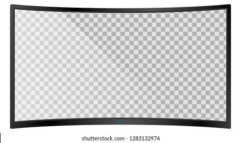 Realistic modern curved 4k TV monitor isolated on white background. Empty transparent screen template mockup. Blank copy space on PC screen. Vector illustration